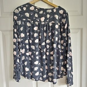 LOFT dot floral long sleeve sheer blouse